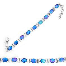 23.85cts natural blue doublet opal australian 925 silver tennis bracelet p9006