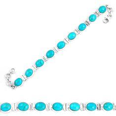 38.71cts natural green kingman turquoise 925 silver tennis bracelet p9025