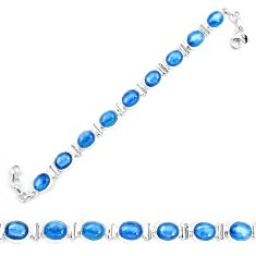 40.77cts natural blue kyanite 925 sterling silver tennis bracelet jewelry p9043