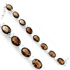 53.15cts brown smoky topaz 925 sterling silver tennis bracelet jewelry p94022