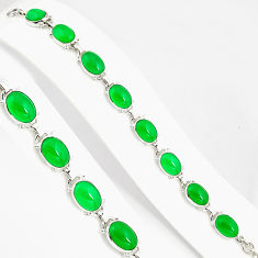 47.55cts natural green chalcedony 925 silver tennis bracelet jewelry p94026
