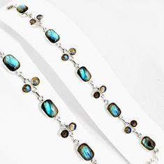 27.64cts natural blue labradorite 925 silver tennis bracelet jewelry p94027