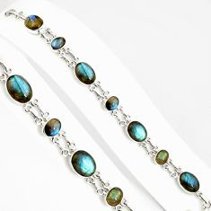 34.69cts natural blue labradorite 925 silver tennis bracelet jewelry p94028