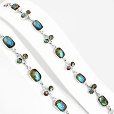 925 silver 28.37cts natural blue labradorite oval tennis bracelet jewelry p94030