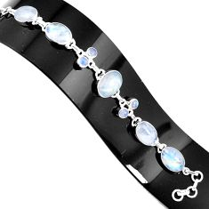 39.36cts natural rainbow moonstone 925 silver tennis bracelet jewelry p94038