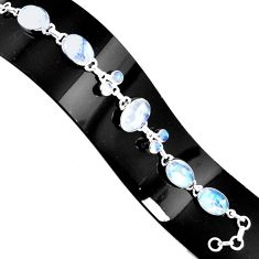 925 silver 39.67cts natural rainbow moonstone tennis bracelet jewelry p94039