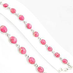 36.09cts natural pink rhodochrosite inca rose 925 silver tennis bracelet p94041