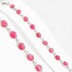 28.74cts natural pink rhodochrosite inca rose 925 silver tennis bracelet p94045