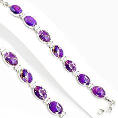 39.70cts purple copper turquoise 925 sterling silver tennis bracelet p94048