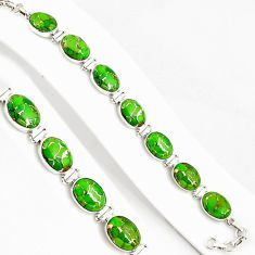 925 silver 38.92cts green copper turquoise oval tennis bracelet jewelry p94057