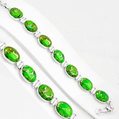 39.36cts green copper turquoise 925 sterling silver tennis bracelet p94058