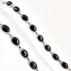 52.58cts natural black onyx 925 sterling silver tennis bracelet jewelry p94063