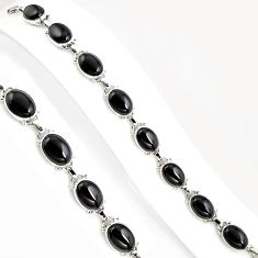 925 sterling silver 52.18cts natural black onyx tennis bracelet jewelry p94064