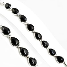 52.18cts natural black onyx 925 sterling silver tennis bracelet jewelry p94065