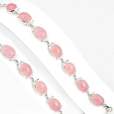 45.52cts natural pink rose quartz 925 sterling silver tennis bracelet p94066
