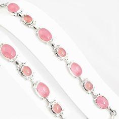 32.11cts natural pink rose quartz 925 sterling silver tennis bracelet p94067