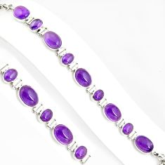 38.91cts natural purple amethyst 925 sterling silver tennis bracelet p94069