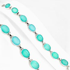51.73cts natural aqua chalcedony 925 sterling silver tennis bracelet p94070