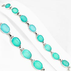 52.58cts natural aqua chalcedony 925 sterling silver tennis bracelet p94071