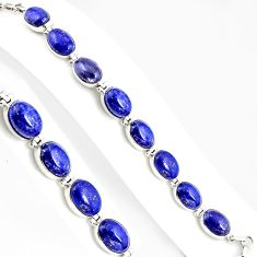 55.82cts natural blue lapis lazuli 925 sterling silver tennis bracelet p94073