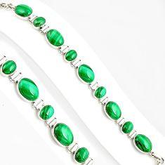 37.21cts natural malachite (pilot's stone) 925 silver tennis bracelet p94074