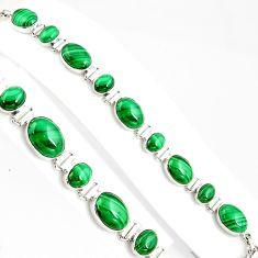 39.64cts natural malachite (pilot's stone) 925 silver tennis bracelet p94076