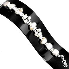 40.77cts natural white pearl 925 sterling silver tennis bracelet p94078