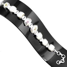 38.46cts natural white pearl 925 sterling silver tennis bracelet jewelry p94079