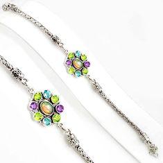 10.71cts natural ethiopian opal amethyst 925 silver tennis bracelet p94362