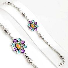 10.71cts natural ethiopian opal amethyst 925 silver tennis bracelet p94363