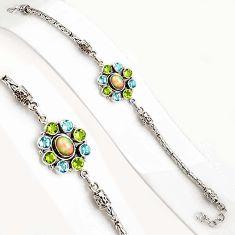 925 silver 10.71cts natural ethiopian opal amethyst tennis bracelet p94364
