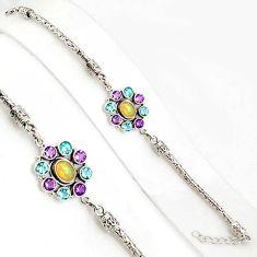 10.59cts natural ethiopian opal amethyst 925 silver tennis bracelet p94365