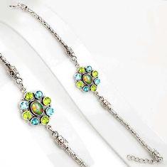 10.59cts natural ethiopian opal peridot 925 silver tennis bracelet p94371