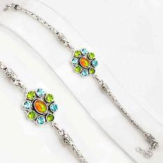 10.47cts natural ethiopian opal peridot 925 silver tennis bracelet p94372
