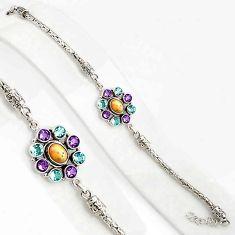 925 silver 10.59cts natural ethiopian opal amethyst tennis bracelet p94374