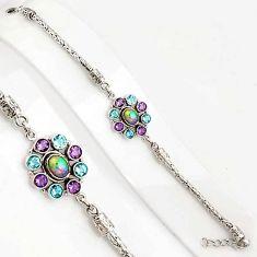10.83cts natural ethiopian opal amethyst 925 silver tennis bracelet p94375