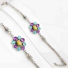 925 silver 10.83cts natural ethiopian opal amethyst tennis bracelet p94377