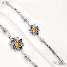 10.71cts natural ethiopian opal amethyst 925 silver tennis bracelet p94378