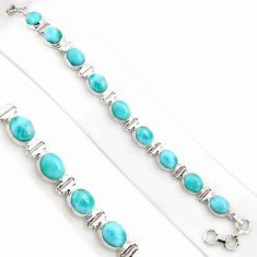 38.31cts natural blue larimar 925 sterling silver tennis bracelet jewelry p94382