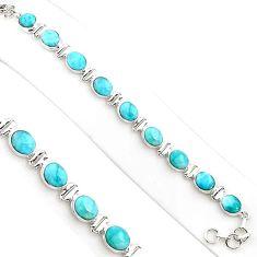 925 sterling silver 36.26cts natural blue larimar oval tennis bracelet p94384