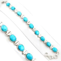 925 sterling silver 39.01cts natural blue larimar tennis bracelet jewelry p94392