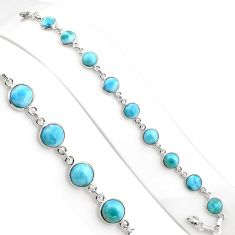 39.10cts natural blue larimar topaz 925 sterling silver necklace jewelry p94559