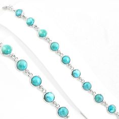 925 sterling silver 27.69cts natural blue larimar tennis bracelet jewelry p94569