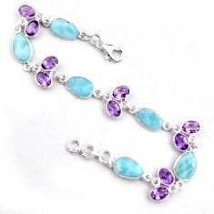 23.74cts natural blue larimar amethyst 925 silver tennis bracelet p96253