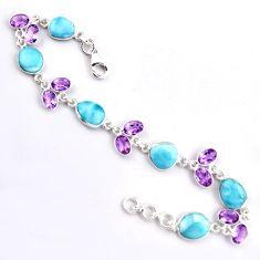 925 silver 27.69cts natural blue larimar purple amethyst tennis bracelet p96260