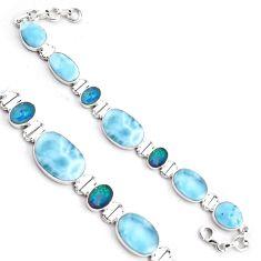 40.69cts natural larimar doublet opal australian silver tennis bracelet p96269