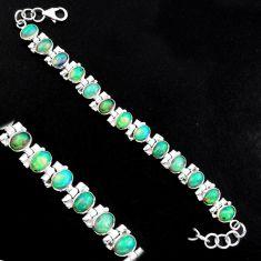 20.80cts natural multi color ethiopian opal 925 silver tennis bracelet p96461