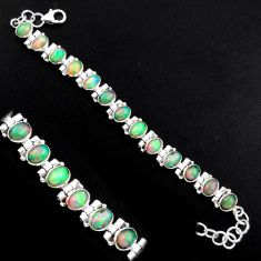 20.80cts natural multi color ethiopian opal 925 silver tennis bracelet p96462