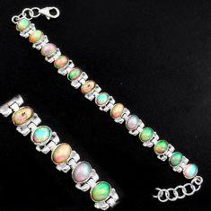 19.91cts natural multi color ethiopian opal 925 silver tennis bracelet p96463