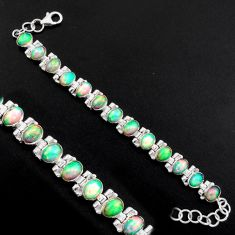 925 silver 20.84cts natural multi color ethiopian opal tennis bracelet p96464